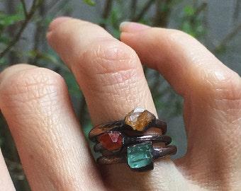 Citrine ring Raw Citrine ring Raw crystal ring Natural stone ring Raw gemstone ring Mineral ring Copper ring Bohemian ring Boho jewelry