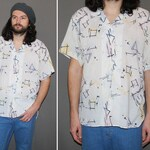 Mens Vintage 80s BUTTON DOWN Top / Short Sleeve, Paper Thin Shirt / Geometric Sketch Abstract Graphic Print / White, Pastel Accents / L, Xl