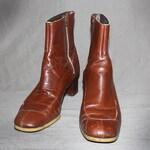 Mens Vintage 60s MOD LEATHER BOOTS / Honey Brown Ankle Boots / Beatle Boots, Chelsea Boot / Groovy / Size 10.5 us, 44 eu, 10 uk, 10 aus