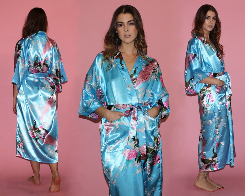 Vintage JAPANESE ROBE   PEACOCK Cherry Blossom Print   Satin  ae500adcb