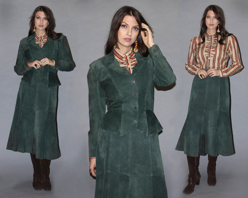 Vintage 80s 90s SUEDE SKIRT and JACKET Set / Pine Green Power image 0