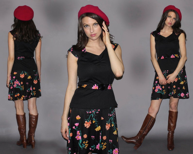 Vintage 70s GROOVY MINI Skirt Top SET / Electric Floral image 0