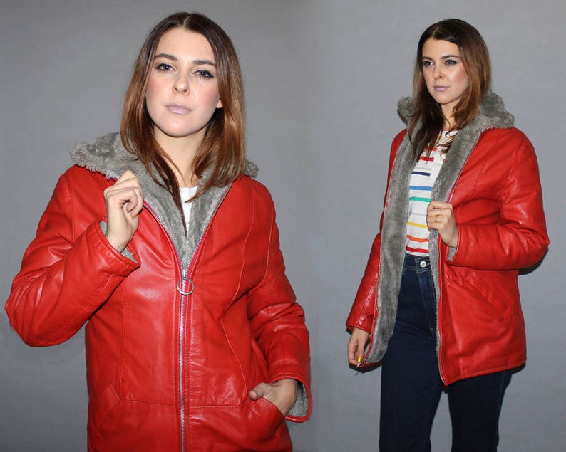 RARE Vintage 60s RED LEATHER Jacket / Grey Sherpa Lined Fitted image 0
