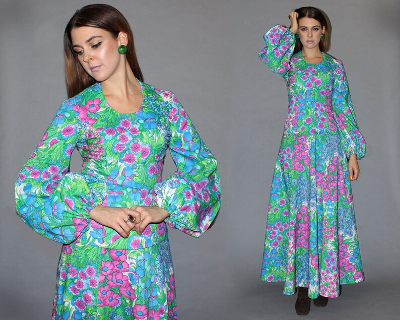 Vintage 70s GROOVY FLORAL Two Piece Matching Set / Dramatic image 0