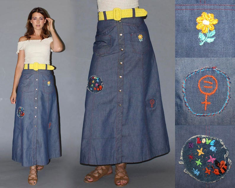 Vintage 60s High Waisted Denim Skirt / GROOVY HANDMADE PATCHES image 0