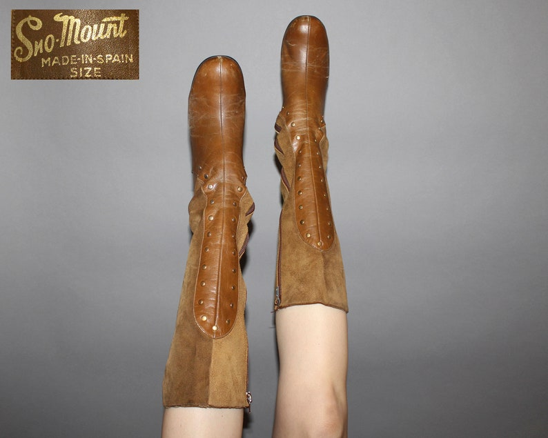 Vintage 60s MOD BOOTS / Caramel Brown Leather  Suede / Groovy image 0