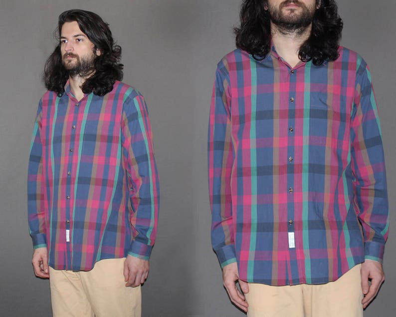 Mens Vintage 90s PLAID BUTTON DOWN Shirt / Grunge Plaid / Long image 0