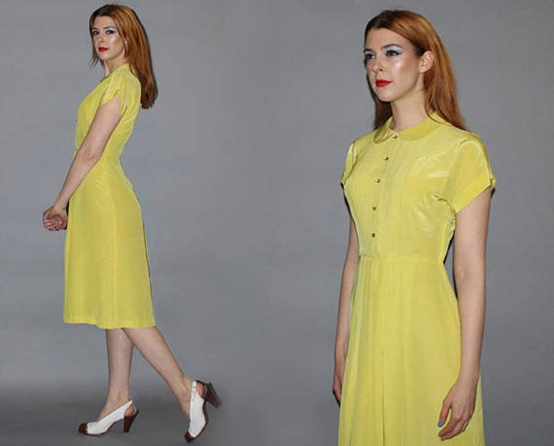 Vintage 40s CHARTREUSE DAY DRESS / Silky Lemon Citrus Summer image 0