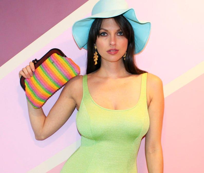 Vintage 60s RAINBOW CLUTCH  / Striped Raffia Sisal Handbag / image 0
