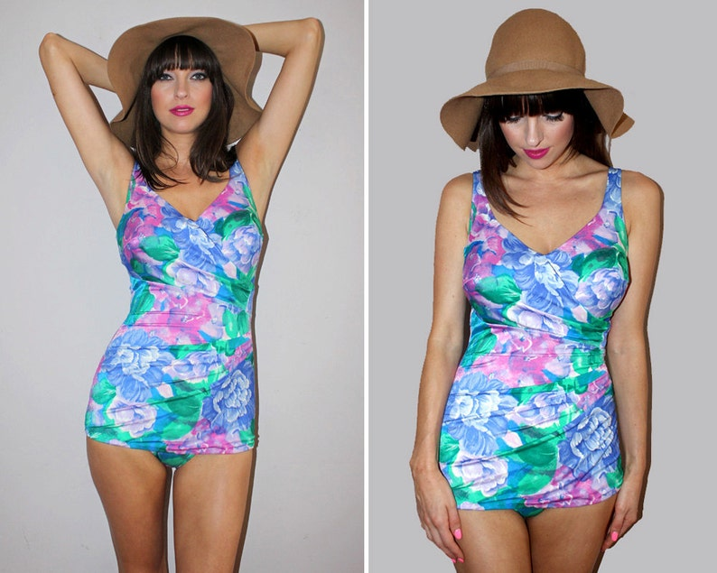 1bc3213cd8 Vintage 70s PIN UP Bathing Suit   One Piece Swimsuit   Floral