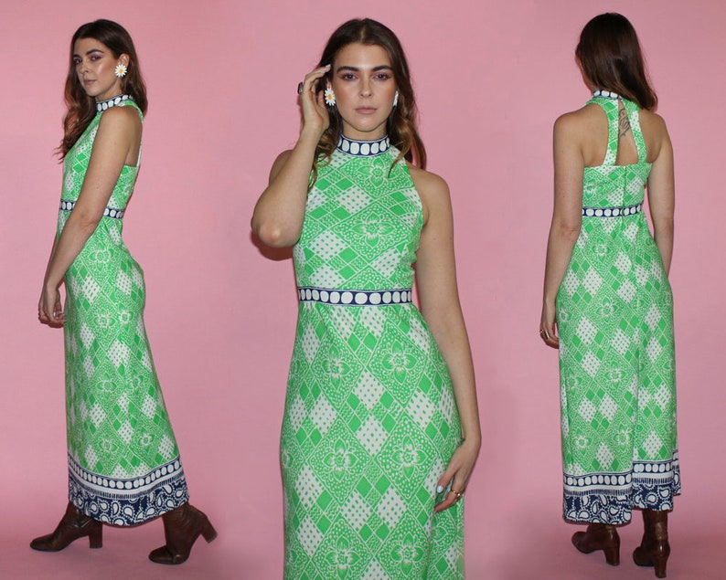 Vintage 70s CUTOUT BACK Dress / Groovy Maxi Dress / Mod Kelly image 0