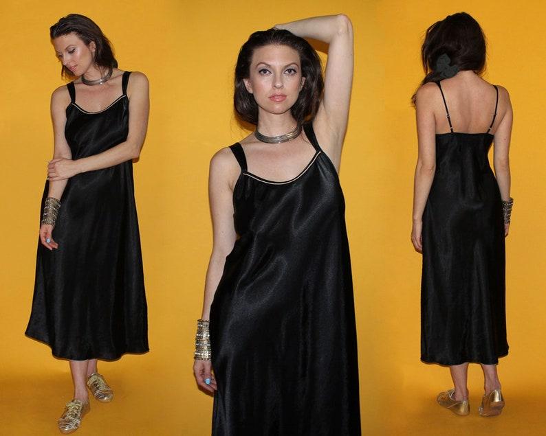 Vintage 90s BLACK SLIP DRESS / Satin Draped Lingerie / Grunge image 0