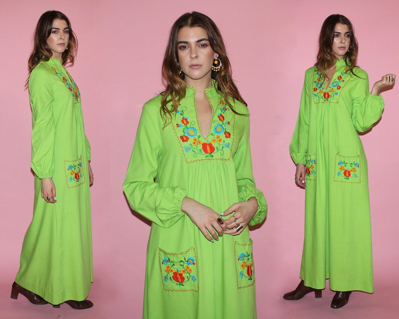 Vintage 60s MEXICAN KAFTAN DRESS / Neon Lime Green Boho Maxi image 0