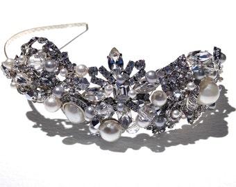 Gatsby Vintage Brooch Cluster Tiara