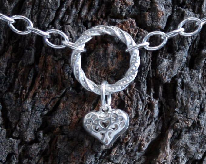 Heart of Hearts. Discrete PERMANENTLY LOCKING Fancy 'O' ring Slave Ankle Bracelet. BDSM bracelet. Sterling silver. Anklet. Ankle chain.