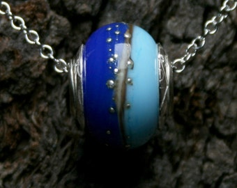 Ocean Horizons ~ Lampwork big hole Focal bead. Hand made full sterling silver core & caps. Fine silver wrapped. Organic. Summer sea blues