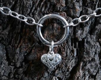 Heart of Hearts. Discrete 'O' ring Slave ankle Bracelet. BDSM bracelet. Sterling silver. Anklet. Ankle chain.