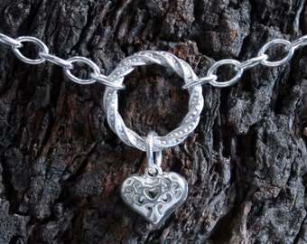 Heart of Hearts. Discrete PERMANENTLY LOCKING Fancy 'O' ring Slave Bracelet. BDSM bracelet. Sterling silver. Infinity/Eternity/Captive ring