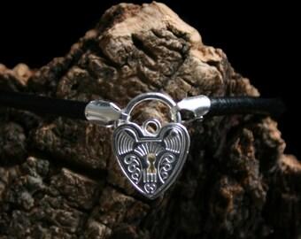 Discrete Unisex Slave bracelet. Sterling silver. Choose Black/pink/purple leather. Choose plain or fancy padlock. 3mm heavyweight leather.