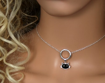 Sir's Kitten. Black Cat discrete O ring Day Collar / Slave Necklace. Sterling silver Story of 'O' collar. Captive / Infinity / Eternity ring