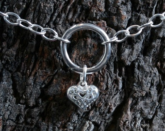 Heart of Hearts. Discrete 'O' ring Day Collar / Slave Necklace. Sterling silver. Captive/Infinity/Eternity ring collar. Little puffed Heart.