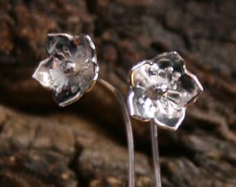 Stellata ~ Simply Silver ~ Wildflower series ~ Exclusive design sterling silver flower earrings. Long stem. Floral. Eco-friendly. Stemmed.