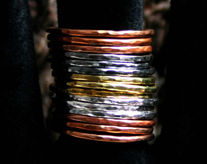 Mixed Metals stack rings. Hammered skinny stacking rings. Copper/Brass/Bronze/Sterling silver. Sets of 5/10/15. US 8 to 13 ~ UK Q to Z 1/2