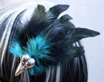 Exclusive 'Black & Teal Raven' hair grip / fascinator in Green shimmer black and Teal blue.