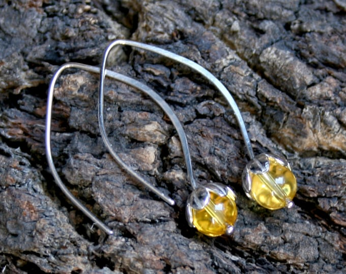 Dew Drop. Sterling Silver and Citrine floral drop earrings. Exclusive design. Flower drops. Yellow. Choose natural or blackened silver.