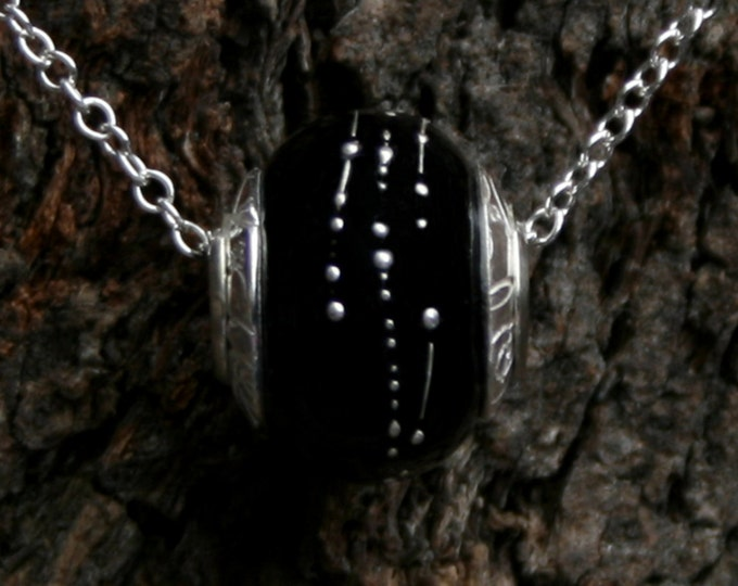 La Nuit ~ Lampwork big hole Focal bead. Hand made full sterling silver core & caps. Fine silver wrapped. Organic. Darkest glossy Black