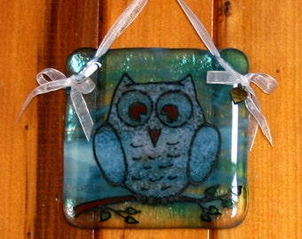 Hand painted, fused glass hanging ornament. 'Owlets' Cute baby owl design 10x10cm / 4x4 inches plus hanging ribbon