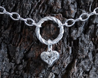 Heart of Hearts. Discrete Fancy 'O' ring Day Collar / Slave Necklace. Sterling silver Infinity/Eternity ring collar. Little puffed Heart.