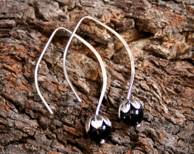 Dew Drop. Sterling Silver and Black Onyx floral drop earrings. Exclusive design. Flower drops. Choose natural or blackened silver.