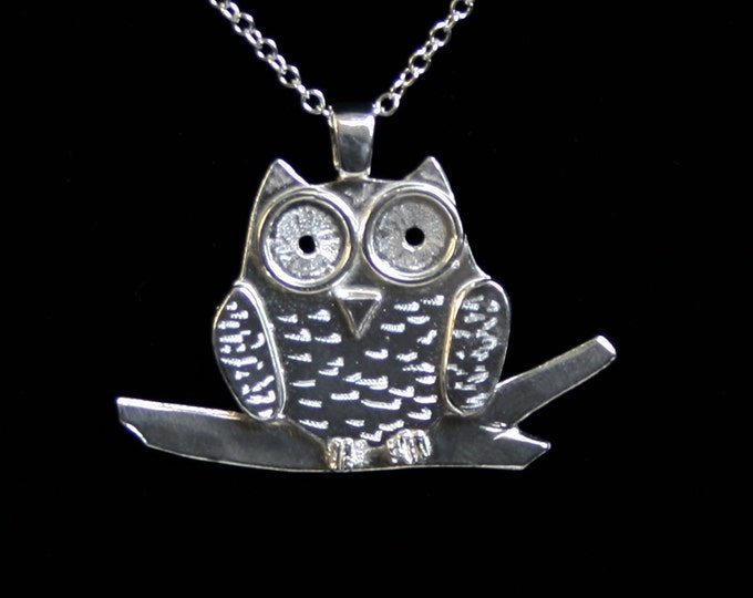 Handmade 'Owlet collection' 'Owl on a Branch' Pendant. A cute engraved 3D owl on a branch. Fully UK Hallmarked Eco friendly Sterling Silver
