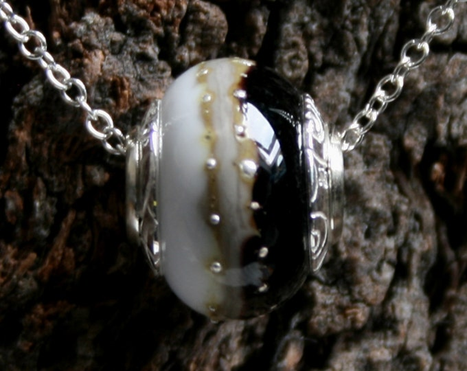Brooding skies ~ Lampwork big hole Focal bead. Hand made full sterling silver core & caps. Fine silver wrapped. Organic. Black, grey + white