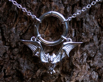 Gothic Bat ~ Discrete PERMANENTLY LOCKING O ring Day Collar / Slave Necklace. Sterling silver. Captive ring collar. Choker / necklace