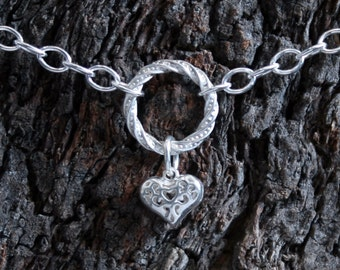 Heart of Hearts. Discrete PERMANENTLY LOCKING Fancy 'O' ring Day Collar / Slave Necklace. Sterling silver. Little puffed Heart.