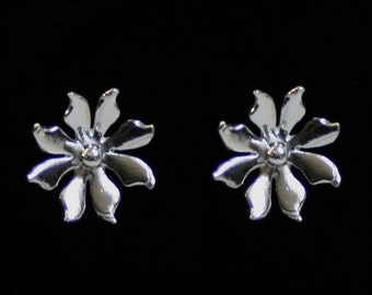 Handmade 'Ma Petite Fleur' earrings. 'Simply Silver' Traditionally hand made sterling silver flower earrings, stud earrings for pierced ears