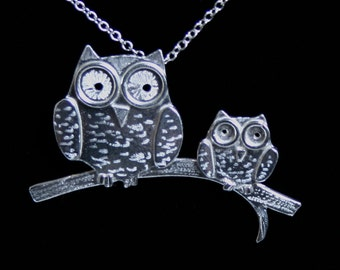 Handmade 'Owlet collection' 'Mom and Baby on a Branch' Pendant. Cute engraved 3D owls on a branch. Hallmarked Eco friendly Sterling Silver