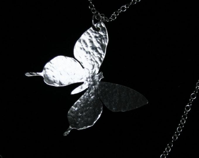 Handmade 'Silver Butterfly' Pendant. Traditionally hand made butterfly pendant made from Sterling Silver.