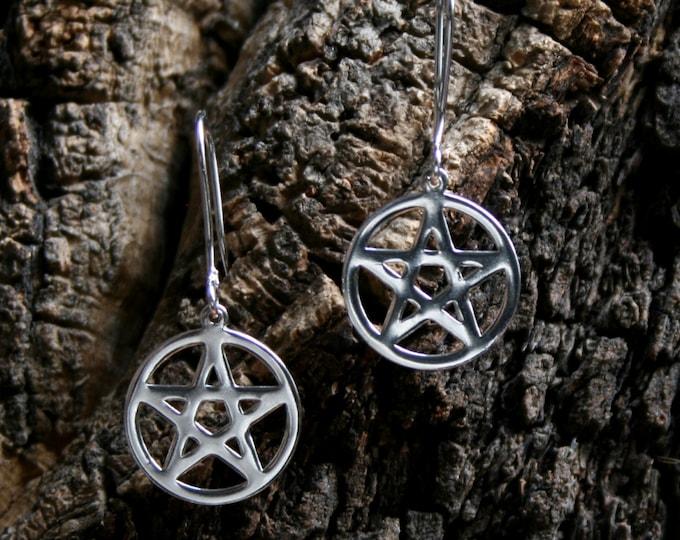 Pentacle earrings ~ Sterling Silver Pentagram. Drop earrings. Dangly earrings.