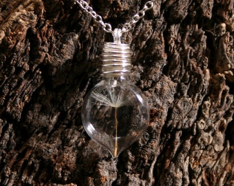 Dandelion  Wishes ~ 'Make a Wish' Pendant ~ Hand blown glass & sterling silver pendant with a real dandelion seed  inside. Wishing bottle.