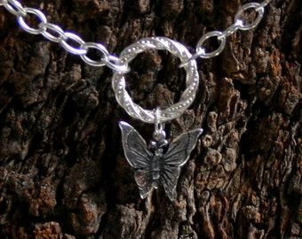 Discrete Butterfly dropper FANCY 'O' Ring Day Collar / Slave Necklace. Sterling silver Story of 'O' collar. Choker or necklace.