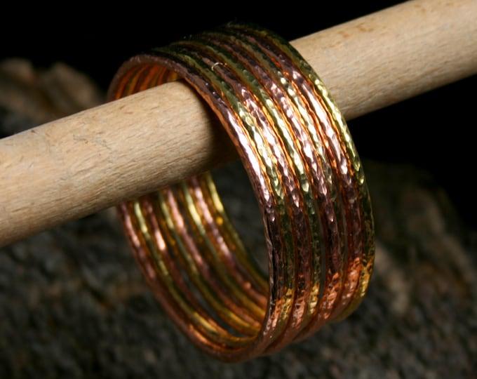 Hand forged Copper or Brass bangles. Stacking bangles. Boho bangles. Chunky bangle. Artisan hammered bangles. Thick Bracelets. Heavy Gauge.