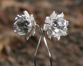 Lily-Ann ~ Simply Silver ~ Wildflower series ~ Exclusive design sterling silver flower earrings. Long stem. Floral. Eco-friendly. Stemmed.