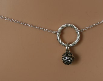 Fancy Slave Bell - Discrete, Fancy 'O' ring waist chain. Sterling silver. Story of 'O' / Eternity ring / Infinity ring. BDSM belly chain.