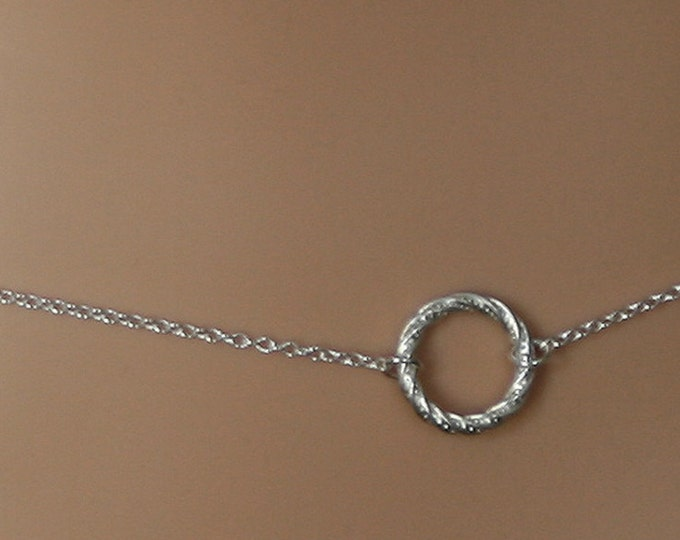 Discrete, Fancy 'O' ring waist chain. Sterling silver. Story of 'O' / Eternity ring / Infinity ring. BDSM belly chain.