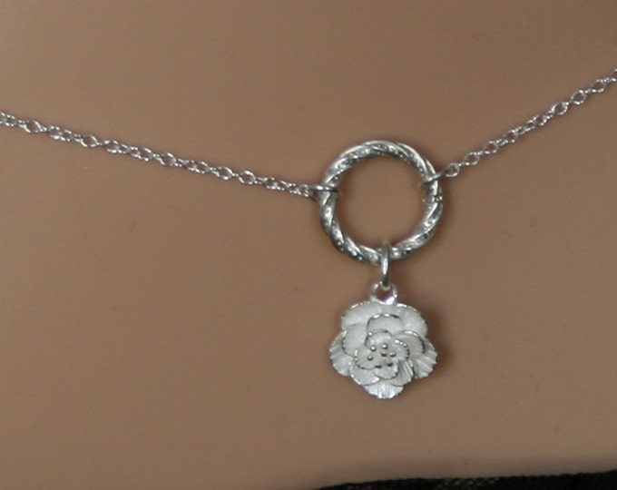 Camellia ~ Discrete, Fancy O ring waist chain. Sterling silver. Eternity ring / Infinity ring. Pretty Flower / Floral BDSM belly chain.