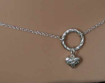 Heart of Hearts. Discrete Fancy 'O' ring waist chain. Sterling silver. Eternity ring / Infinity ring. BDSM belly chain. Little puffed Heart.