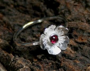 Rosa ~ Gemstone & Sterling Silver Statement / stacking ring 'Wildflower series' Exclusive design. Choose gemstone. UP to US 7 3/4 ~ UK P 1/2